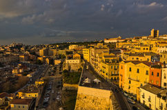 Panoramic view of Cagliari downtown at sunset in Sardinia Stock Photos