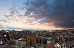 Panoramic view of Cagliari downtown at sunset in Sardinia Stock Photography