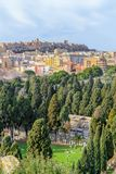 Panoramic view of Cagliari, Castello and Bonaria cemetery royalty free stock photos