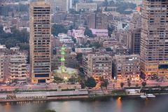 Panoramic view of Cairo city. At sunset hours, Egypt Royalty Free Stock Photo