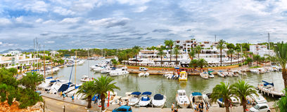 Panoramic view of the Cala D'Or yacht marina harbor Royalty Free Stock Images