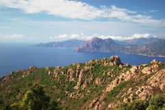 Panoramic view on Calanche de Piana gulf Royalty Free Stock Photos
