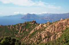 Panoramic view on Calanche de Piana gulf Royalty Free Stock Images