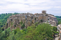 Panoramic view of Calcata. Lazio. Italy. stock images