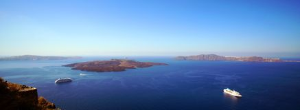 Panoramic view of the Caldera with cruise ship in Santorini. Greece stock photography