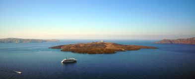 Panoramic view of the Caldera with cruise ship in Santorini. Greece stock image
