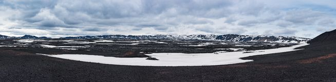 Panoramic view of caldera field. With snow in Askja volcano crater in Iceland royalty free stock image