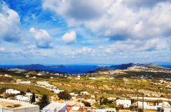 Panoramic view of the caldera, Fira and Oia, Santorini Stock Images