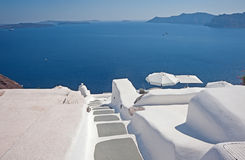 Panoramic view of caldera with rooftops Santorini, Greece Royalty Free Stock Image
