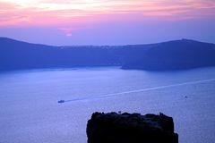 Panoramic view of the Caldera in Santorini. Greece royalty free stock photos