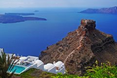 Panoramic view of the Caldera in Santorini. Greece stock photos
