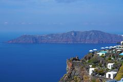 Panoramic view of the Caldera in Santorini. Greece royalty free stock photography