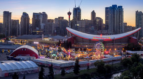 Panoramic view of the the Calgary Stampede. CALGARY, CANADA - JULY 8: Panoramic view of the the Calgary Stampede at sunset on July 8, 2016 in Calgary, Alberta Stock Photo