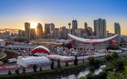 Panoramic view of the the Calgary Stampede at sunset. CALGARY, CANADA - JULY 8: Panoramic view of the the Calgary Stampede at sunset on July 8, 2016 in Calgary Royalty Free Stock Photo