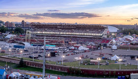 Panoramic view of the the Calgary Stampede at sunset. CALGARY, CANADA - JULY 8: Panoramic view of the the Calgary Stampede at sunset on July 8, 2016 in Calgary Stock Photography