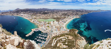 Panoramic view of Calpe. Panoramic view of mediterranean city - Calpe on Costa Blanca in Spain Royalty Free Stock Image