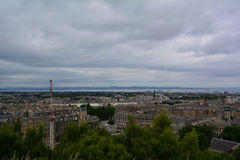 Panoramic view from Calton Hill in Edinburgh at the city centre and port,, Scotland. Hilly Edinburgh, Scotland's capital, has a medieval Old Town and an elegant Stock Images