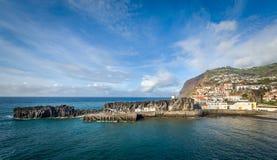 Panoramic view of Camara de Lobos old town harbor. Royalty Free Stock Photography