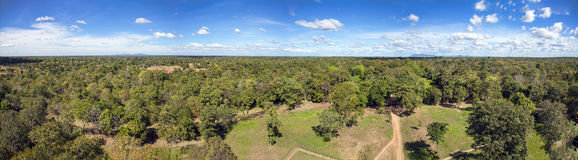 Panoramic view of Cambodian jungle from Koh Ker temple top Royalty Free Stock Photo