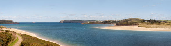 Panoramic View of the Camel Estuary in Cornwall Stock Image