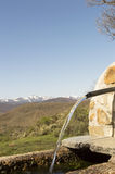 Panoramic view with Camino de Santiago mountain road in Castilla y Leon Stock Photography