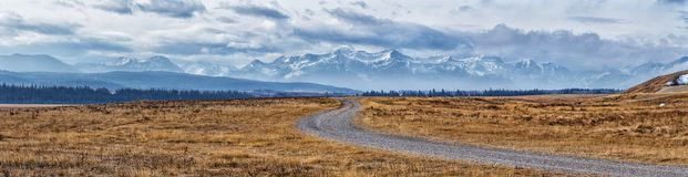 Panoramic view of the Canadian Rockies royalty free stock photo