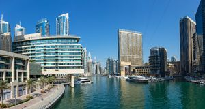 Panoramic view of the canal from the bridge in the Dubai Marina Royalty Free Stock Photo