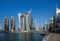 Panoramic view of the canal from the bridge in the Dubai Marina stock photos