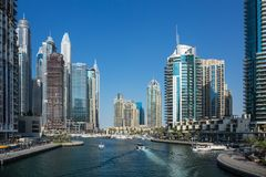 Panoramic view of the canal from the bridge in the Dubai Marina Stock Photo