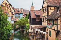 Panoramic view on canal in Petite Venice neighborhood of Colmar Stock Image