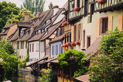 Panoramic view on canal in Petite Venice neighborhood of Colmar Stock Photo