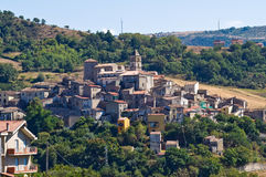 Panoramic view of Cancellara. Basilicata. Italy. Stock Photography