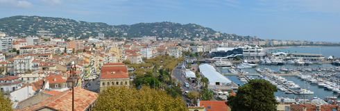 Panoramic View of Cannes Buildings & Marina, France royalty free stock photos