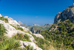 Panoramic view of Cape Formentor. Mallorca. Panoramic view of Cape Formentor and the Mediterranean Sea on a sunny day Royalty Free Stock Photos