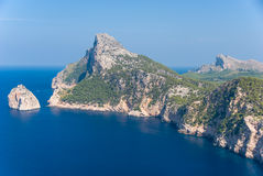 Panoramic view of Cape Formentor. Mallorca. Panoramic view of Cape Formentor and the Mediterranean Sea on a sunny day Royalty Free Stock Image