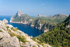 Panoramic view of Cape Formentor. Mallorca. Panoramic view of Cape Formentor and the Mediterranean Sea on a sunny day. Stock Photo