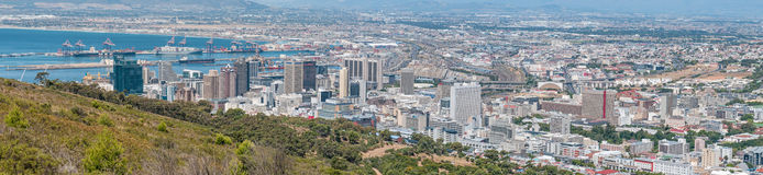 Panoramic view of Cape Town central business district and harbor Stock Photography