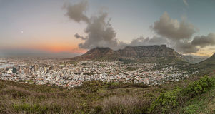 Panoramic view of cape town at dusk Stock Photos
