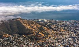 Panoramic view of Cape Town, Lion`s Head and Signal Hill from the top of Table Mountain stock photo