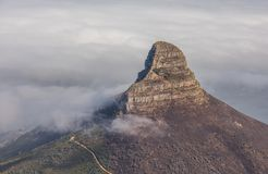 Panoramic view of Cape Town, Lion`s Head and Signal Hill from the top of Table Mountain.  stock photography