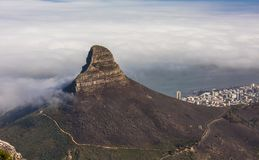 Panoramic view of Cape Town, Lion`s Head and Signal Hill from the top of Table Mountain.  royalty free stock image