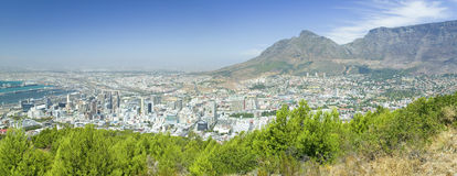 Panoramic view of Cape Town and Table Bay, view of harbor from Table Mountain, South Africa Stock Photography