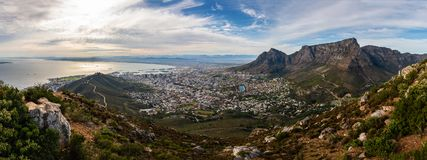 Panoramic view on capetown. And the city bowl shot from the Lion`s Head royalty free stock images