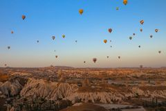 Panoramic view of Cappadocia with Balloons on the air Royalty Free Stock Image