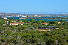 Panoramic view of Caprera. Island with plants, sea and some buildings Royalty Free Stock Photography