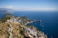 Panoramic view of Capri. View of the Faraglioni of Capri from Anacapri stock image
