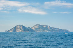 Panoramic view of Capri Island from the Bay of Sorrento Royalty Free Stock Photos