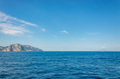 Panoramic view of Capri Island from the Bay of Sorrento Royalty Free Stock Photography