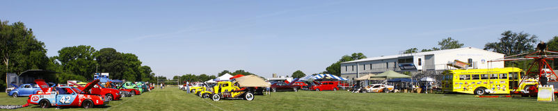 Panoramic view of the car show Royalty Free Stock Photos