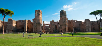 Panoramic view of Caracalla springs ruins from grounds with turi Royalty Free Stock Images